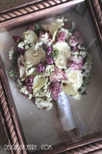 roses, calla lilies and hydrangea preserved