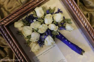 White Roses Preserved with Blue Delphenium