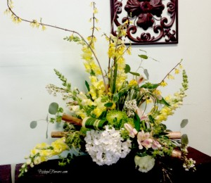 Forsythia branches help create lines for your arrangements